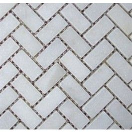 Buy White 1 In X 2 In Tumbled Mesh Mounted Herringbone Pattern
