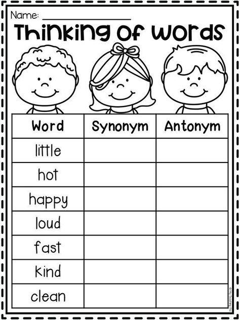 First Grade Worksheets, School Worksheets, Grammar Worksheets, First Grade Phonics, First Grade Lessons, Synonym Activities, Synonym Worksheet, Teaching Writing, Teaching Kids