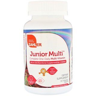 Zahler Junior Multi Complete One Daily Multi Vitamin Natural Cherry Flavor 90 Chewable Tablets Multivitamin Cherry Flavor Vitamins