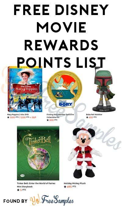 10 Points Added Free Disney Movie Rewards Points List Disney