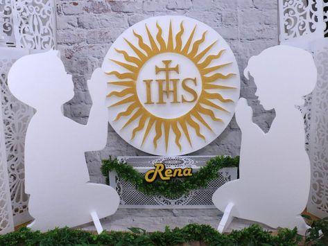 Duze Figury Dzieci Komunijnych Hostia Z Promieniami Zestaw Dekoracyjny Oltarza