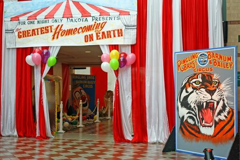 For a Circus Theme Event hang Red and White Fabric pieces to create the perfect big top entrance for your guests!