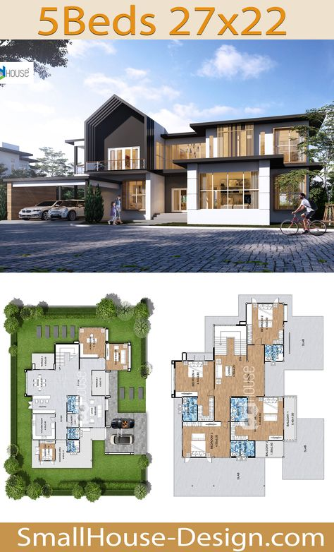 Beautiful House Design Plot 27x22 meters 5 Bedrooms. FIRE HOME SERIES Modern Style Line F-165, 2-story house,5 bedrooms, 7 bathrooms.  Parking for 2 cars, Usable area 536 square meters, Land area 115 Square Wah 27 meters wide 22 meters long.