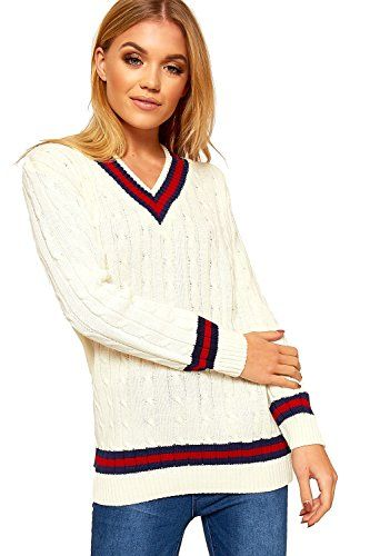 New Womens Cable Knit V Neck Long Stretch Cricket Jumper Pullover Top