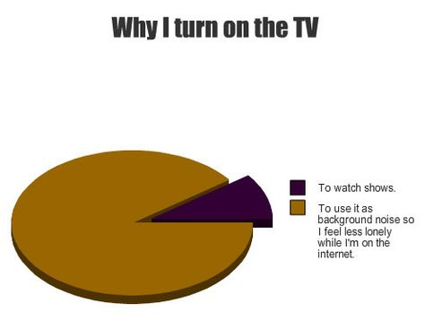 Why I turn on the TV - so true!