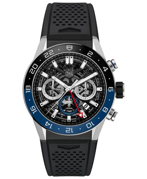 Tag Heuer Men's Swiss Automatic Chronograph Carrera Heuer 02 Black Rubber Strap Watch 45mm