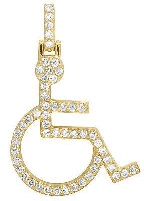 10k Yellow Gold Handicap Emoji Sign Wheelchair Symbol Diamond Charm Pendant 1ct Ebay Diamond Charm Emoji Signs Symbols
