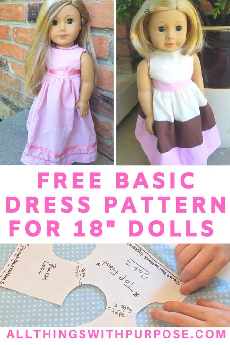 Free Basic Dress Pattern for American Girl and Dolls American Girl Outfits, American Girl Diy, American Doll Clothes, American Doll Bed, Custom American Girl Dolls, American Girl Crochet, Doll Patterns Free, Doll Dress Patterns, Doll Sewing Patterns
