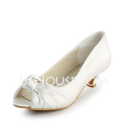 Wedding Shoes - $58.99 - Satin Low Heel Peep Toe Wedding Shoes With Bowknot (047016504) http://jjshouse.com/Satin-Low-Heel-Peep-Toe-Wedding-Shoes-With-Bowknot-047016504-g16504