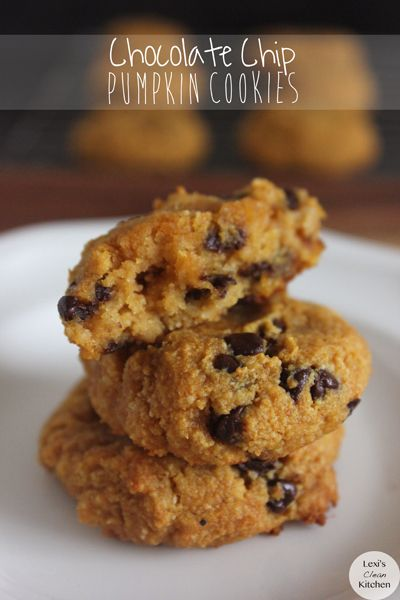 Paleo Chocolate Chip Pumpkin Cookies   Lexiscleankitchen.com   {used a ripe banana instead and just cinnamon instead of pumpkin pie spice.  really really good but too moist but will try with pumpkin next time.  -ksw}