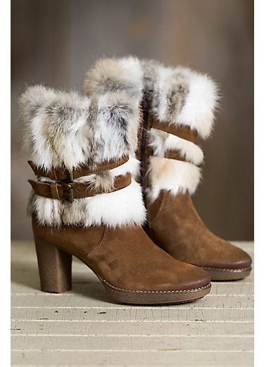 51b0c8929a10b Women's Overland Elise Suede Boots with Rabbit Fur Trim | Clothing ...