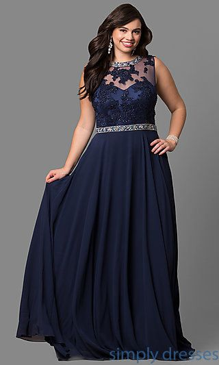 Plus-Size Long Formal Dress with Beaded Bodice | Dress for ...