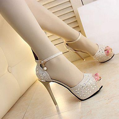 2553591750 Mujer Zapatos Tejido Verano Confort Sandalias Tacón Stiletto Para Casual Dorado  Negro Plata