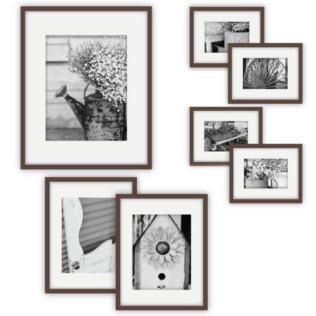 Gallery Perfect 7 Piece Walnut Frame Kit Walmart Com Wall Frame Set Gallery Wall Kit Gallery Wall Frames