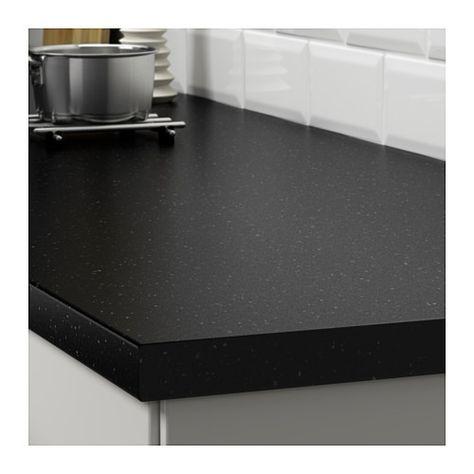 Plan De Travail Quartz Ikea.Saljan Plan De Travail Noir Motif Mineral Stratifie