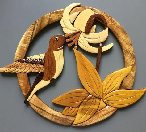 Unique Wood Workwooden Intarsia Birdhandcrafted Decor