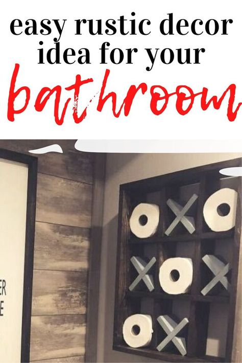Give your guest bathroom a rustic feeling with this cute tic tac toe wall decoration. Perfect for Farmhouse decorating on a budget. #rustic #bathroom #decor