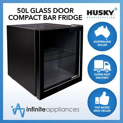 Husky 50l Glass Door Mini Compact Countertop Bar Fridge In Black Or White Bar Fridges Glass Door Portable Mini Fridge
