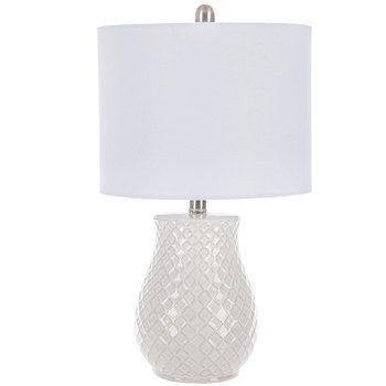 Ivory Diamond Textured Lamp Ceramic Lamp White Ceramic Lamps Lamp