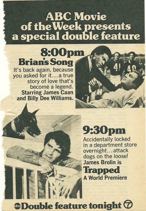 8/11/15  8:11p  Columbia Pictures ''Brian's Song''   Universal TV ''Trapped'' Aired: ABC MOW TV  NYC Advert  11/14/1973  DBL Feature oldtimenyareatv.wordpress.com