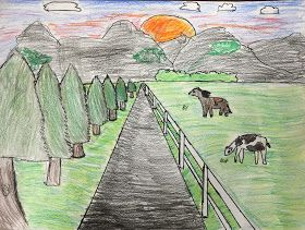 5th Grade One Point Perspective Landscapes Landscape Art Lessons Landscape Drawings Perspective Art