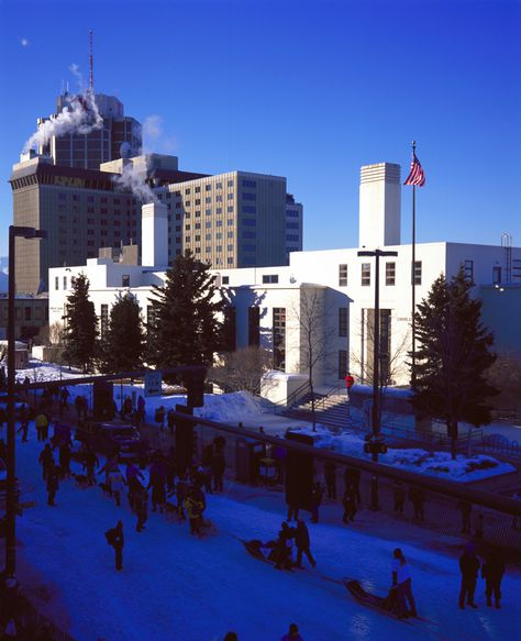 James M. Fitzgerald United States Courthouse and Federal Building: Constructed almost twenty years before Alaska became the forty-ninth state, the Federal Building in Anchorage symbolized the U.S. government's commitment to the economic growth and development of the territory. Providing residents with a post office, courthouse, and other federal services, it was the first large federal building constructed in Anchorage.