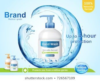 Medical Grade Hand Wash Ads Flowing Clear Liquid Splashing Around
