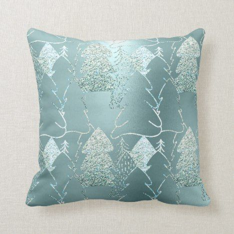 Christmas Tree Fancy Glitter Ice Blue Aqua Gray Throw Pillow