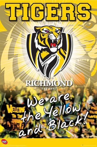 Afl Richmond Tigers Poster 61x91cm Picture Print New Art Richmond Football Club Richmond Richmond Afl