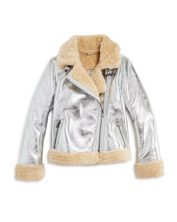 Bardot Junior Womens Iris Metallic Biker Jacket Big Kids