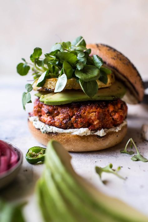 Blackened Salmon Burgers with Herbed Cream Cheese + VIDEO - Half Baked Harvest