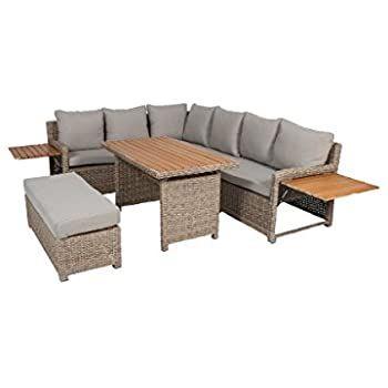 Greemotion Rattan Lounge Set Verona Loungemobel Mit Esstisch Fur Garten Terrasse Gartenmobel Aus Polyrattan Braun Beige O Lounge Mobel Gartenmobel Sitzgruppe
