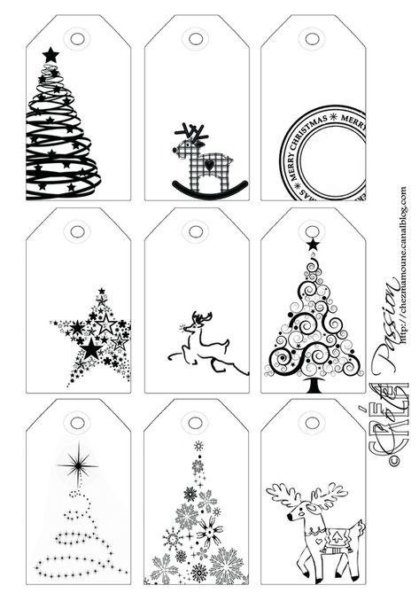 Côté Passion 9 tag BW Christmas étiquettes de Noël