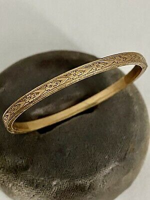 Vintage 10k Gold Filled Baby Hinged Bangle Bracelet Flower Dart Engraved Design In 2020 Hinged Bangle Bangle Bracelets Bangles