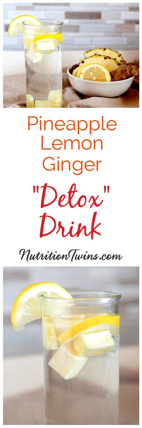 Easy Pineapple Lemon Ginger Drink Recipe. This detox water helps flush bloating fast for a flat belly. Fill up on this before meals to help with a weight loss diet plan and a flat stomach workout plan. #flatstomach #detox #drinks #recipes For MORE RECIPES, fitness  nutrition tips please SIGN UP for our FREE NEWSLETTER www.NutritionTwins.com