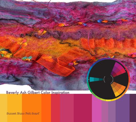 Color Inspiration - Sunset Nuno Felt Scarf, Purple, Orange, Radiant Orchid, Use Pantone's Color of the Year in new and lovely ways! World Of Color, Color Of The Year, Color Generator, What Is An Artist, Nuno Felt Scarf, Jewel Tone Colors, Pallet Painting, Colour Pallette, Design Seeds