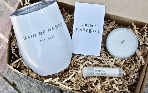 Personalized maid of honor proposal box bridesmaid tumbler