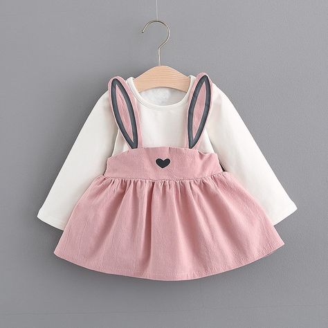 5bf53dad74f6 Adorable Faux 2-piece Rabbit Long-sleeve Dress for Baby Girl ...