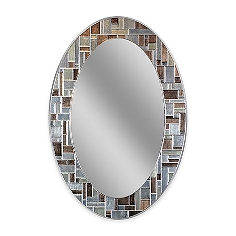 Winsor 21 Inch X 31 Inch Oval Frameless Mirror In Silver With Images Mirror Wall Oval Tile Oval Wall Mirror