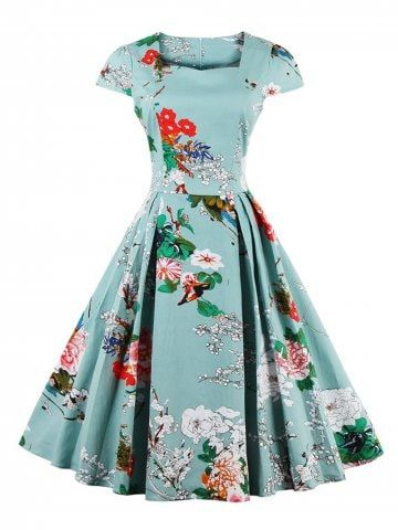 9889ea4556bb5 Retro Sweetheart Neck Cap Sleeve Floral Print Flare Dress in 2019 ...