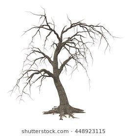 Spooky Halloween Tree With Long Roots And Bare Branches Isolated On White Background 3d Illustration Haunted Tree Tree Images Halloween Trees