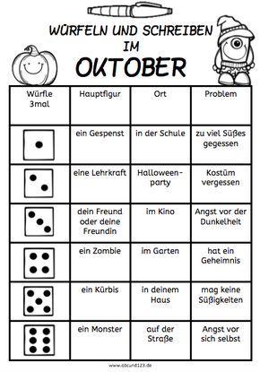 Würfeln und Schreiben im Oktober, AFS-Methode, Arbeitsblatt, DAF ...
