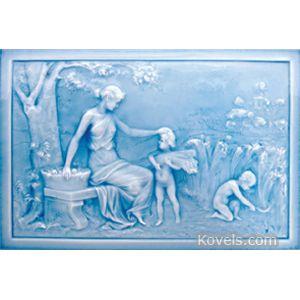 American Encaustic Tiling Company Plaque, Pattern: Autumn, 4 Seasons Series, Blue Glaze, Description: 12 x 18 In.