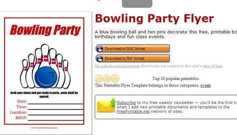 Pin Bowling Fundraiser Flyer Template Bowling Pinterest - bowling flyer template