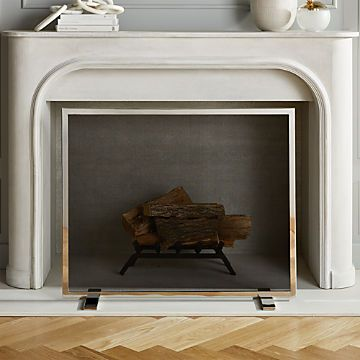 Modern Fireplace Accessories Cb2 In 2020 Stainless Steel Fireplace Brass Fireplace Screen Fireplace Accessories