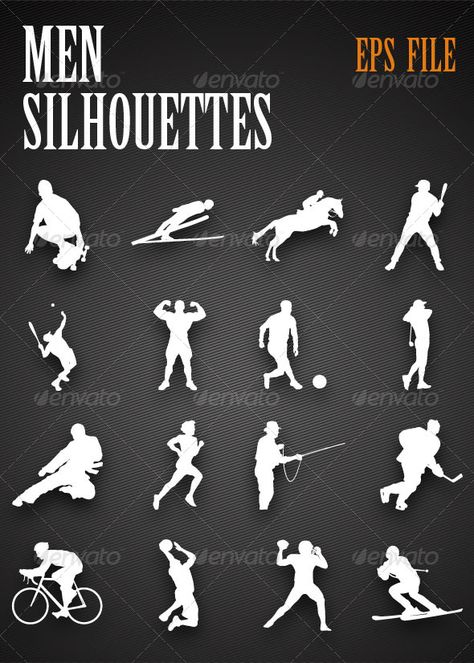 Sports Silhouettes  #GraphicRiver         The vectors are fully editable in eps format. Very easy to use. For use in print collateral and for web also. Resolution independent. EPS file.     Created: 14April13 GraphicsFilesIncluded: VectorEPS Layered: No MinimumAdobeCSVersion: CS Tags: baseball #basketball #bodybuilding #cycling #fishing #football #golf #hockey #horsing #illustration #karate #linework #men #running #shadow #skating #sports #tennis #vector #women