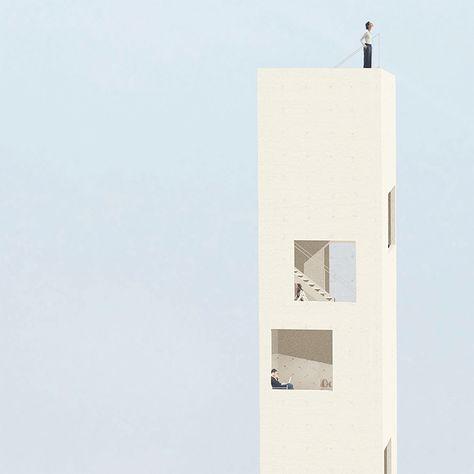 homu - a scale to the city concept toren grafisch presentatie poster blauw architectuur