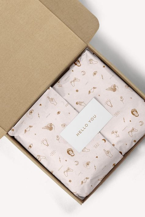 Cute branded packaging and custom tissue paper with branding pattern. Cute branded packaging and custom tissue paper with branding