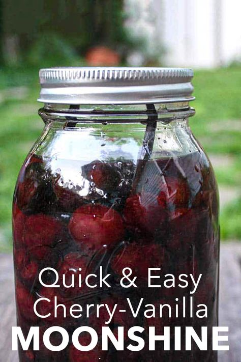 COCKTAILS ANYONE? - Making moonshine from scratch requires lots of special equipment and lots of waiting. This shortcut cherry moonshine recipe is for impatient types like me! Cherry Moonshine Recipe, Flavored Moonshine Recipes, Homemade Moonshine, How To Make Moonshine, Apple Pie Moonshine, Making Moonshine, Moonshine Mash Recipe, Fireball Recipes, Homemade Alcohol