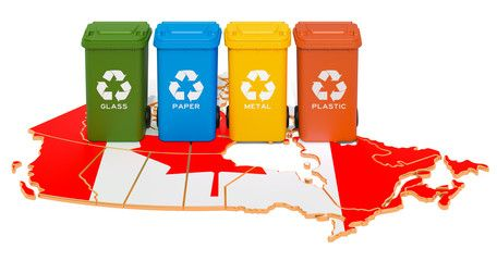 Waste Recycling In Canada Colored Trash Cans On The Map Of Canada